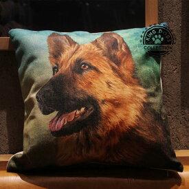 クッション カバー と本体セット 45×45cm ジャーマンシェパード 背景:森 雑貨 グッズ kingdogs 犬屋 いぬや