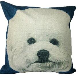【あす楽】 クッション カバー と本体セット 45×45cm ビションフリーゼ【A】 背景:紺 雑貨 グッズ kingdogs 犬屋 いぬや