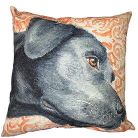 【あす楽】 クッション カバー と本体セット 45×45cm 黒ラブ 背景:橙 雑貨 グッズ kingdogs ラブラドールレトリバー 犬屋 いぬや
