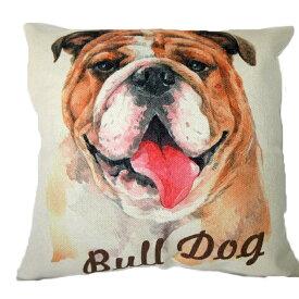 【あす楽】 クッション カバー と本体セット 45×45cm ブルドッグ 【A】 背景:白 雑貨 グッズ kingdogs 犬屋 いぬや