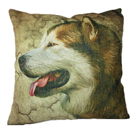 【あす楽】 クッション カバー と本体セット 45×45cm アラスカンマラミュート ハスキー 背景:茶 雑貨 グッズ kingdogs 犬屋 いぬや