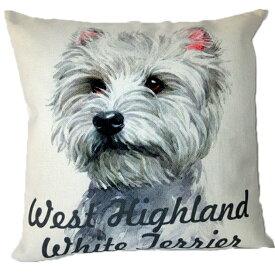 【あす楽】 クッション カバー と本体セット 45×45cm ウエストハイランドホワイトテリア ウェスティー背景:白 雑貨 グッズ kingdogs 犬屋 いぬや