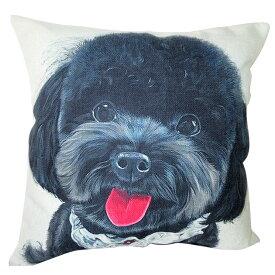 【あす楽】 クッション カバー と本体セット 45×45cm プードル【C】 背景:黒 雑貨 グッズ kingdogs 犬屋 いぬや