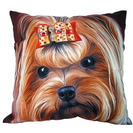 【あす楽】 クッション カバー と本体セット 45×45cm ヨークシャーテリア【B】 雑貨 グッズ kingdogs 犬屋 いぬや
