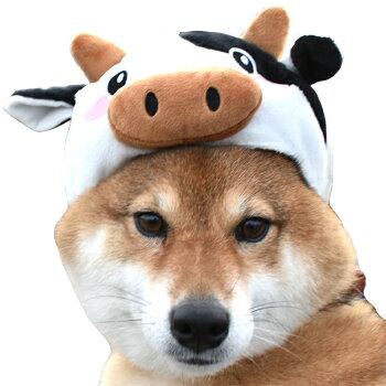 キャップかぶりものコスプレ小型犬うしウシグッズ犬屋トイプードルシーズーシュナウザー柴犬などかぶり帽