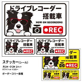 グラサン ドライブレコーダー ステッカー ボーダーコリー 長方形 3枚入1セット 大15cm 小6.5cm シール 犬屋 オリジナル 犬 ドッグ ドラレコ 送料無料