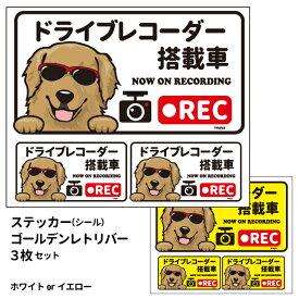 グラサン ドライブレコーダー ステッカー ゴールデンレトリバー 長方形 3枚入1セット 大15cm 小6.5cm シール 犬屋 オリジナル 犬 ドッグ ドラレコ 送料無料