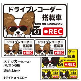 グラサン ドライブレコーダー ステッカー パピヨン 黒白 茶白 長方形 3枚入1セット 大15cm 小6.5cm シール 犬屋 オリジナル 犬 ドッグ ドラレコ