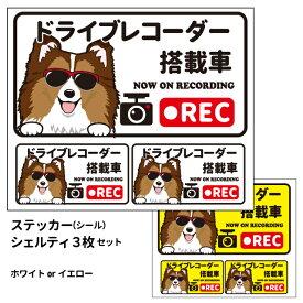 グラサン ドライブレコーダー ステッカー シェルティ 茶白 長方形 3枚入1セット 大15cm 小6.5cm シール 犬屋 オリジナル 犬 ドッグ ドラレコ 送料無料