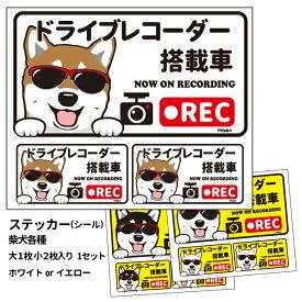 グラサン ドライブレコーダー ステッカー 柴犬 長方形 3枚入1セット 大15cm 小6.5cm シール 犬屋 オリジナル 犬 ドッグ ドラレコ 送料無料