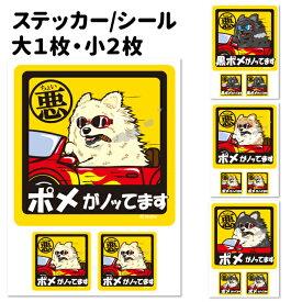 犬 ステッカー シール ポメラニアン 犬 ちょい悪 正方形セット 犬屋 いぬや 送料無料