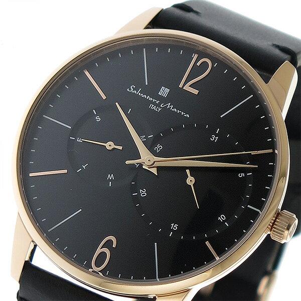 【ポイント2倍】(〜4/30 23:59) サルバトーレマーラ SALVATORE MARRA クオーツ 腕時計 SM18105-PGBK ブラック メンズ