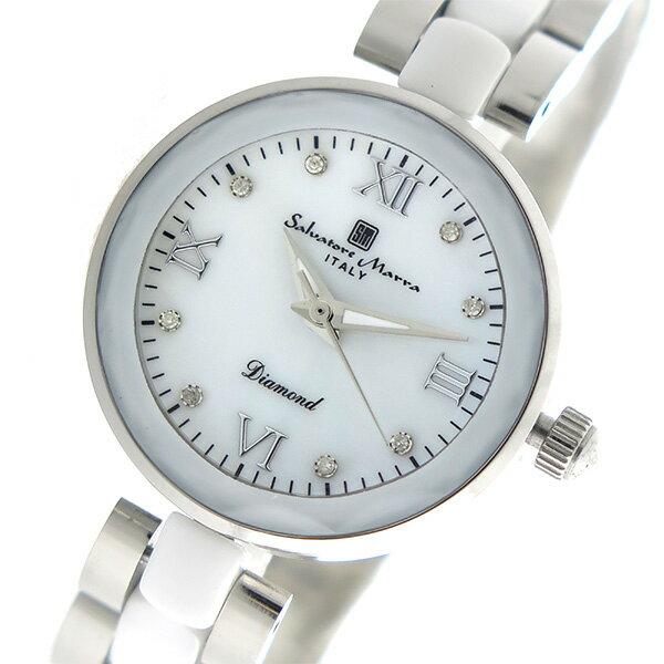 【今月特価】【ポイント10倍】(〜6/30) サルバトーレマーラ SALVATORE MARRA クオーツ 腕時計 SM17153-SSWHR ホワイトシェル レディース