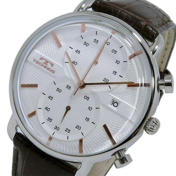 【お買い物マラソンxポイントアップ】(〜4/26 01:59) 【ポイント5倍】(〜4/30 23:59) テクノス TECHNOS クオーツ クロノグラフ 腕時計 T6397SA ホワイト/ピンクゴールド メンズ