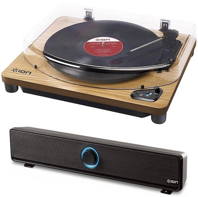 【公式 / 送料無料】ION Audio Bluetooth対応 レコードプレーヤー・ワイヤレススピーカー セット (Air LP 天然木)