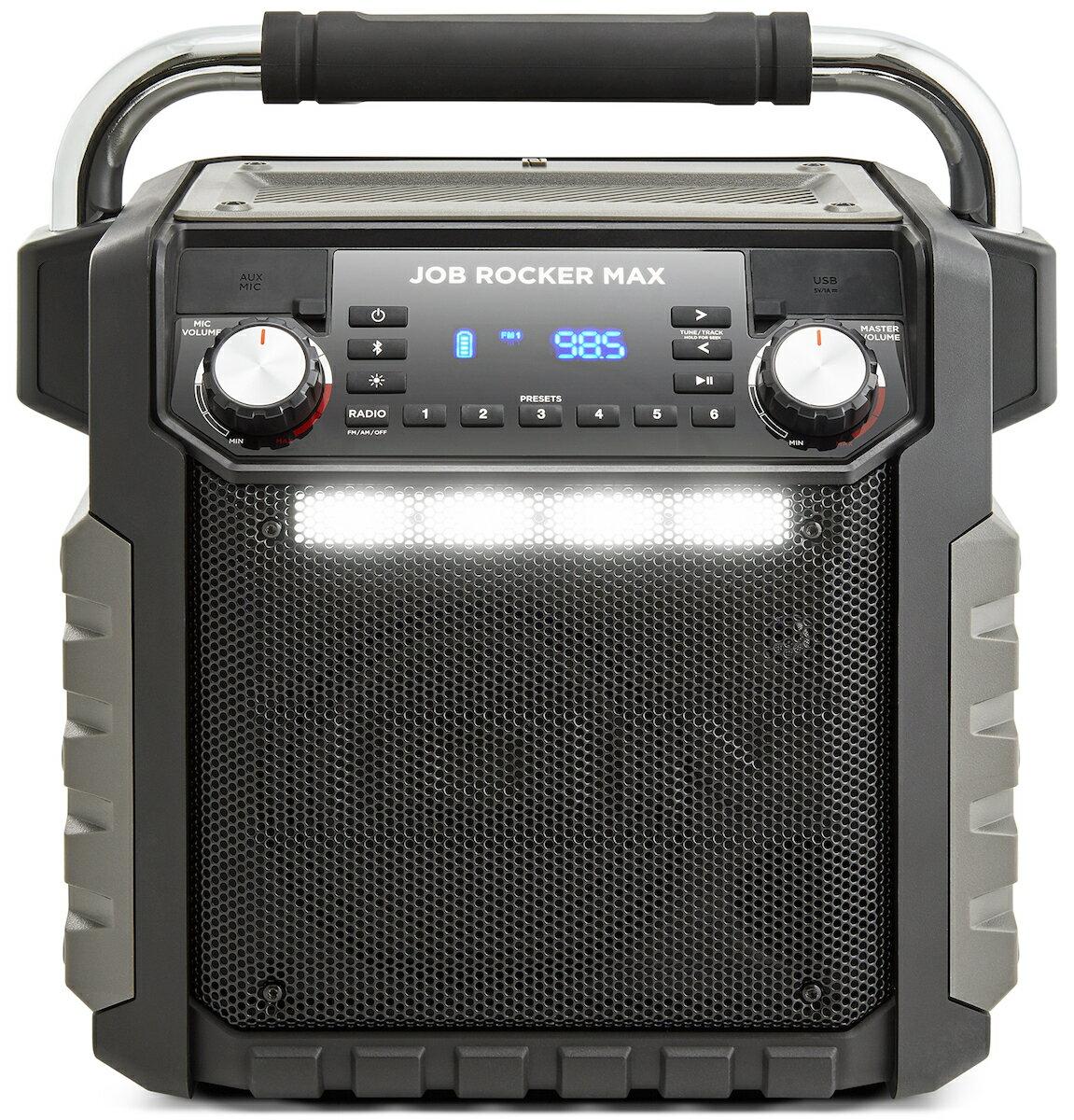ION Audio 防水 Bluetooth スピーカー 50時間バッテリー LEDライト 付き コンセント/USB 端子付き スマホ充電 可能 AM/FM ラジオ Job Rocker Max