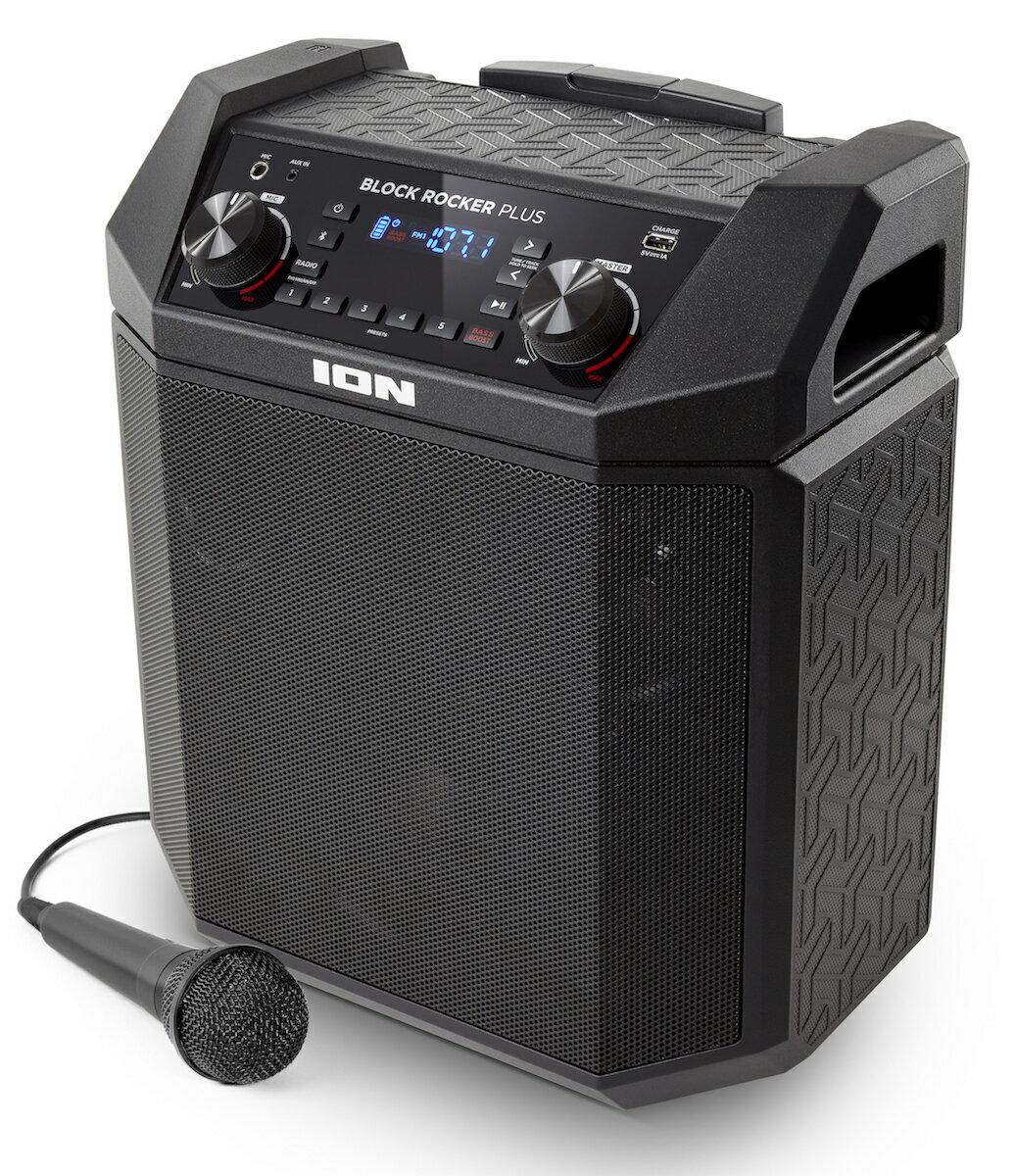 ION Audio Bluetooth対応 ポータブルPAスピーカー 低音 ブースト 機能搭載 50時間バッテリー 100W マイク 付き Block Rocker Plus