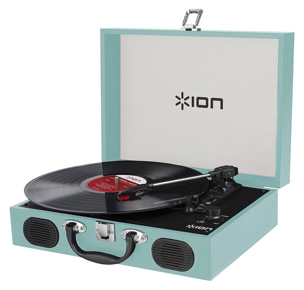 10%OFF!【公式 / 送料無料】ION Audio スピーカー内蔵 スーツケース型レコードプレーヤー Vinyl Transport ブルー
