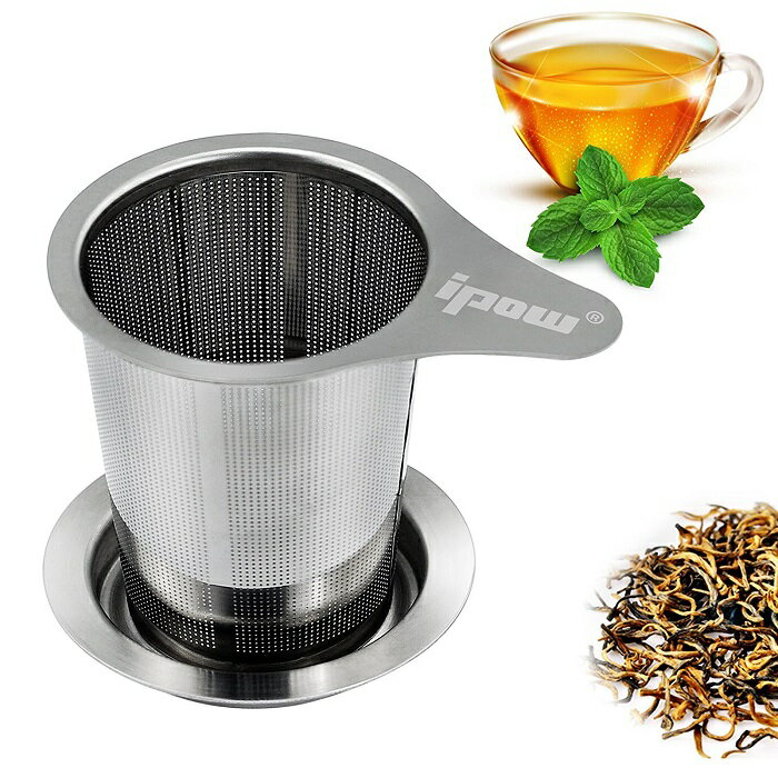 \お茶の匂いを楽しむ!/【送料無料】ipow 茶こし ステンレス 茶漉し 深型 茶こし網 深型 ティーストレーナー 紅茶 茶こし 急須 マグカップ ティーポット など用 取っ手と蓋付き ちゃこし 茶道具 ギフト プレゼント