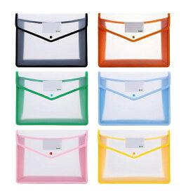 【6枚セット】【送料無料】ipow ファイル袋 ボタン式 ファイル袋 メッシュドキュメントバッグ クリアホルダー 6色 オフィス用品 収納 オシャレ 可愛い A4 大容量