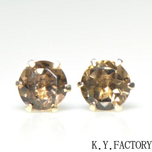 スモーキークォーツ ピアス K10イエローゴールド  YK-AQ027YKAM(YE-003)K10YG レディース ギフト ゴールド 茶水晶 一粒 シンプル