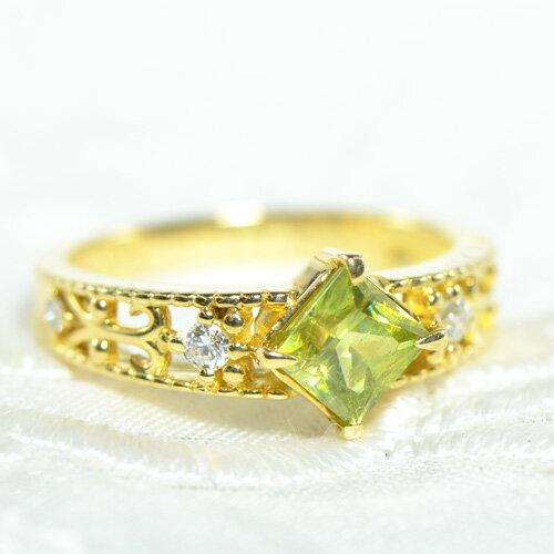 スフェーン×ダイヤモンド リングK18イエローゴールド希少 虹 スパークレディース ゴールド ギフト 四角 スクエア 18金 K18YG YK-AC085-1710