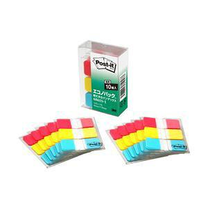 ポストイットR超丈夫なインデックス 3色セット エコのパックTM製品シリーズ 3色入り(レッド、イエロー、ブルー) 4.0×1.8cm 1パック(10枚×30冊) 型番:6861S-1 送料込!