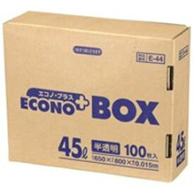 (まとめ)日本サニパック エコノプラスBOX E-44 半透明 45L 100枚【×5セット】 送料込!