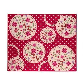 デスクカーペット 女の子 花柄 『パミュ ツー』 レッド 133×170cm 送料込!