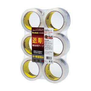 (まとめ)3M スコッチ 透明梱包用テープ 中・軽量物用 48mm×50m 313-6PN 1セット(36巻:6巻×6パック) 【×3セット】