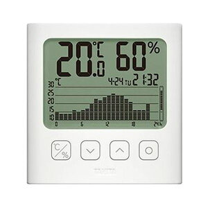 (まとめ)タニタ グラフ付きデジタル温湿度計ホワイト TT-580-WH 1個【×3セット】 送料無料!
