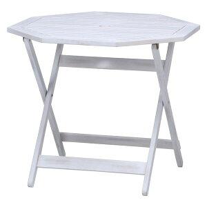 八角テーブル 幅90×奥行90×高さ71.5cm ホワイト【代引不可】 送料込!