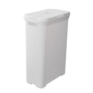 ラタン風 ランドリーバスケット/洗濯かご 【ホワイト】 幅44.5cm 蓋付き 横開き・縦開き対応 『アミーランドリーボックス』 送料込!