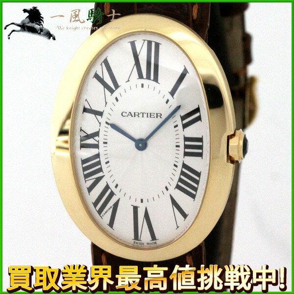 190072【中古】【Cartier】【カルティエ】ベニュワールLM W8000013 シルバー文字盤 K18YG×革 手巻き 保証書 箱