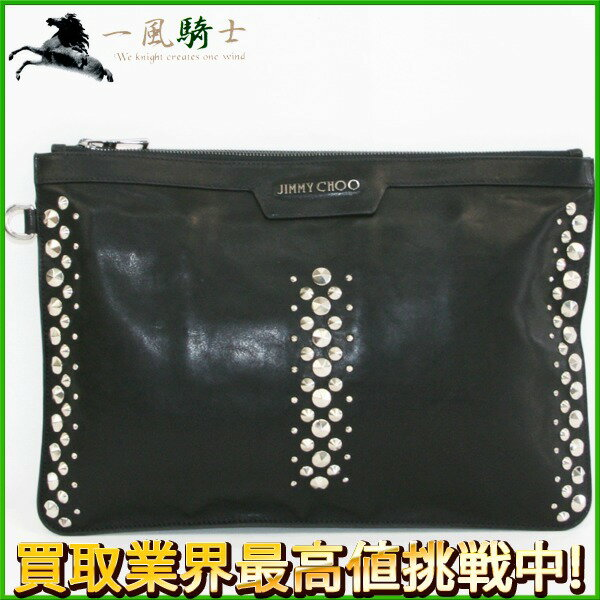 231993【送料無料】【中古】【JIMMY CHOO】【ジミーチュウ】クラッチバッグ カーフ×スタッズ ブラック(黒)セカンドバッグ パーティーバッグ ハンドバッグ