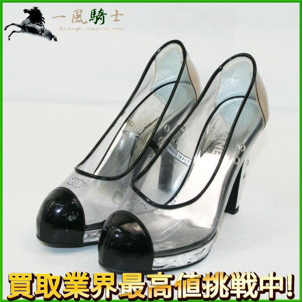 231756【中古】【CHANEL】【シャネル】パンプス クリア×エナメル シルバー×ブラック(黒) #37 1/2(約25.0cm)chanel ファッション小物 シューズ 靴 レディース