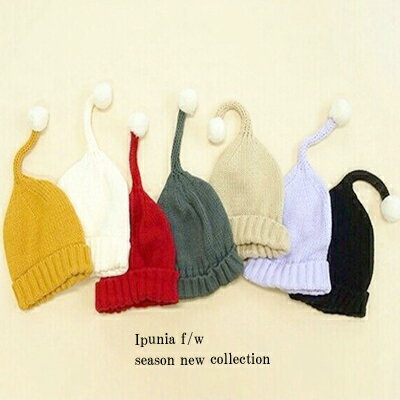 7色 どんぐりロングニット帽 アクリル100% ベビー 幼児用 防寒 キッズ韓国子供服 男の子 女の子 帽子