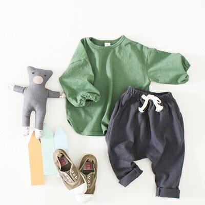 定番の大人気商品 ジョイラッパT 袖がゴム ブラック グリーン ベージュ 男の子 女の子 韓国子供服 90cm 100cm 110cm 120cm 130cm