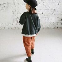 くすみコットンバギーパンツDeepベージュモスグリーンオレンジブルー韓国子供服男の子女の子90cm100cm110cm120cm130cm140cm