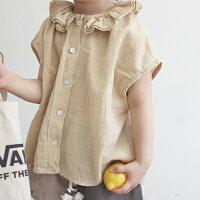 フリルブラウスクリームベージュ薄手コットン100%子供服男の子女の子韓国子供服80cm90cm100cm110cm120cm