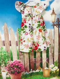 【返品不可】襟元フリルワンピ 薄手 ノースリーブ 花柄 韓国子供服 120cm