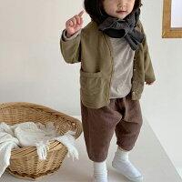 ゴールドフィンガーパンツブラウンベージュウエストゴム左右ポケット無し右お尻ポケットあり韓国子供服男の子女の子80cm90cm100cm110cm120cmコットン100%長ズボン
