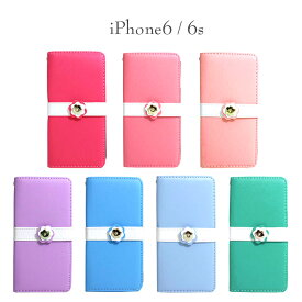 iPhone6s ケース スマホケース iPhone6 フラワーボタン パステルカラー 手帳型ケース 全7色 iphone6ケース