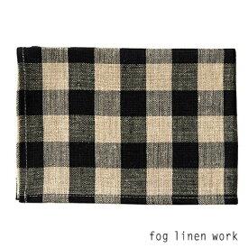 【2点までネコポス可】fog linen work(フォグリネンワーク)リネン キッチンクロス 厚地 THICK LINEN KITCHEN CLOTH BLACK NATURAL CHECK/ランチョンマット キッチンタオル LKC091-BKNC