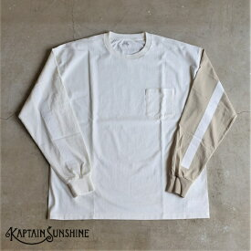 【30%offSALE】【Kaptain Sunshine】West Coast Long Sleeves T-shirt ロングスリーブポケットTシャツキャプテンサンシャイン ホワイトベージュベース ホワイトライン WHT&BEG COMBO/White Line ポケT 日本製