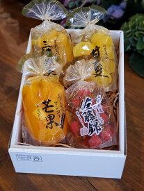 お歳暮 お中元 贈答用 引出物 果実ゼリー詰め合わせ 4パック(佐藤錦・甘夏・マンゴ・三種果実)