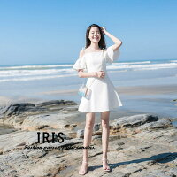 【IRIS】送料無料夏ワンピースオフショルダーワンピースショート丈白ワンピドレスAラインデート服大人可愛いホワイト