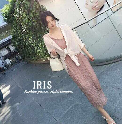【IRIS】2点セット レディース キャミワンピース+ブラウス ロング丈 レース 夏 UV対策 女性らしい 甘い デート服