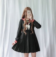 【IRIS】セーラー服ワンピース制服コスロリハロウイン女子高生可愛いロリータ長袖