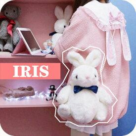 送料無料【IRIS】ショルダーバッグ バッグ ラビット ぬいぐるみ ロリータバッグ 可愛い 学生 ホワイト ベージュ ピンク ブラック カバン 斜め掛け